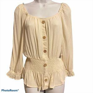 Boho Cream Colour Button Up a blouse by Ardene